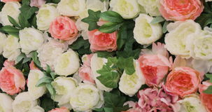 A lot of roses and Peonies stand in pots buckets, a Large Bouquet of Roses and Peonies, beautiful flower field yellow stock video footage