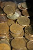A lot of Russian coins for 50 kopecks stock photo