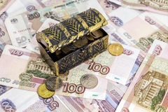 A lot of Russian money in a chest Royalty Free Stock Photos