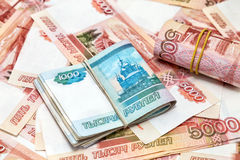 A lot of Russian money Stock Photo