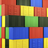 Lot's of cargo freight containers. 3d image of colorful container Stock Images