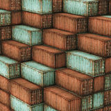 Lot's of cargo freight containers. 3d image of colorful old container Stock Photography