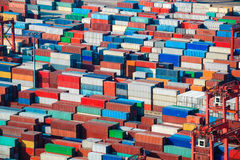 Lot's of cargo freight containers. In shanghai sea port Stock Images