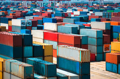 Lot's of cargo freight containers Stock Photo
