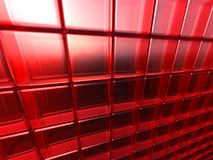 LOT'S OF ROUNDED GLASS CUBES. Lot of red rounded glass cubes in perspective as fancy background stock photos
