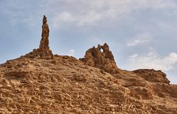Lot`s wife from Bible history. The salt`s statue near Dead Sea, Jordan, Middle East royalty free stock photography