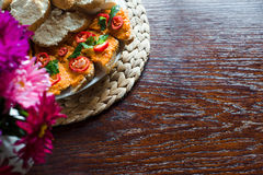 A lot of sandwiches with cheese dip, garlic and herbs, pumpkin caviar, bell pepper. Stock Photography