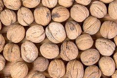 A lot of scattered walnuts close-up. A useful product. Stock Photo
