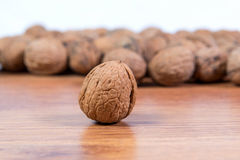 A lot of scattered walnuts close-up. A useful product. Stock Image