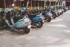 A lot of scooters in the parking, background. Mopeds are on the street. India. bike for rent royalty free stock photography