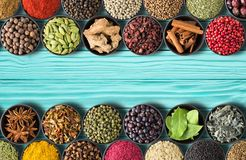 Collection of Indian spices and herbs on teal table background. Stock Photos