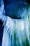 Lot of sharp and long icicles Royalty Free Stock Photo