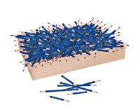 A Lot of Sharpened Pencils in Wooden Container Stock Images