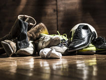 Lot of shoes scattered turns of after the party Stock Image