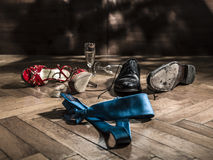 Lot of shoes scattered turns of after the party Stock Images