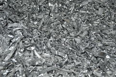 Lot of small pieces of aluminum. metal scrap Stock Image
