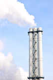 Lot of smoke from industrial smokestack Royalty Free Stock Image