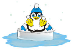 A lot of snow around a penguin boy Stock Photo