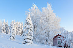 A lot of snow. A Little abandoned house in a snowy landscape Stock Photography