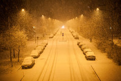 A lot of snowfall and empty road Royalty Free Stock Image