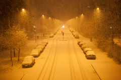 A lot of snowfall and empty road Royalty Free Stock Photography