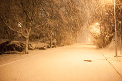 A lot of snowfall and empty walkway Stock Image