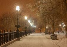 Lot of snowfall and empty walkway Royalty Free Stock Photos