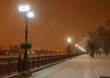 Lot of snowfall and empty walkway Royalty Free Stock Images