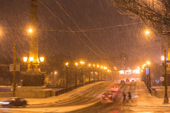 Lot of snowfall in road Stock Photos