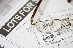 Lot sold. Concept - many uses for property developer stock images