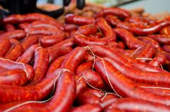 A lot of spanish sausage on a festival royalty free stock photo