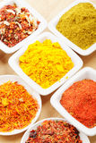 Lot of spices on mat Stock Image