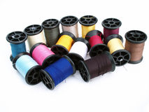 A lot of spools with color thread. S Royalty Free Stock Photography