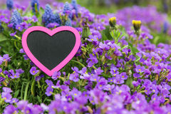 Lot of spring flowers with a pink heart Stock Photo