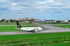 LOT (Star Alliance Livery) Polish Airlines Embraer ERJ-170 airplane  in Pulkovo International airport in Saint-Petersburg, Russia Stock Photos