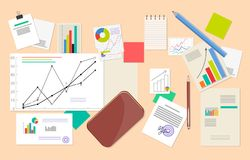 Lot of Statistic and Analytics Data, Vector Poster. Lot of statistic and analytics data vector poster charts and infographics, schedules and diagram Stock Photography
