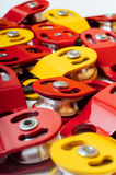 Lot of steel block pulleys using in working on height Stock Photography
