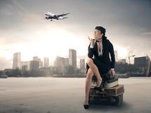 Lot stewardesa Zdjęcie Royalty Free