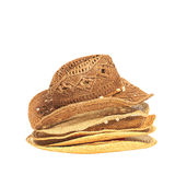 The lot of straw hats isolated on white background. Royalty Free Stock Photos