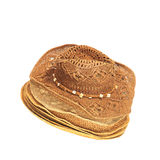 The lot of straw hats isolated on white background. Royalty Free Stock Photo