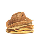 The lot of straw hats isolated on white background. Stock Photography