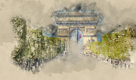 Lot of street traffic on Champs Elysees boulevard in Paris with Arc de Triomphe - Triumphs Arch. Illustration Royalty Free Stock Photography