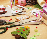 Lot of stuff for handmade gifts, scissors, ribbon, paper with countryside pattern, ready for holiday concept, nobody Stock Images