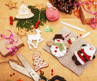 Lot of stuff for handmade gifts, scissors, ribbon, paper with countryside pattern, ready for holiday concept, nobody Stock Photos