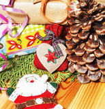 Lot of stuff for handmade gifts, scissors, ribbon, paper with countryside pattern, ready for holiday concept, nobody Stock Photography