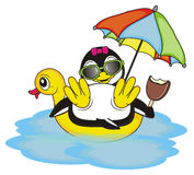A lot of summer elements with penguin girl. Cool penguin girl in black sunglasses hold an ice cream and swimming on the inflated duck in the blue water vector illustration