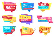 Lot of Super Price 50 Off Best Discount Banners. Vector illustration with many colorful templates with advertising text isolated on white background Royalty Free Stock Photos
