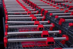 A lot of supermarket carts attached to each other. stock photography