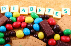 A lot of sweets, brown sugar and word diabetes, unhealthy food Royalty Free Stock Photography