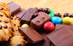 A lot of sweets and cane brown sugar, unhealthy food Royalty Free Stock Image